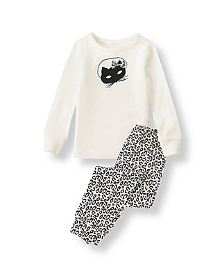 Ivory Cat Mask Pajama Set at JanieandJack
