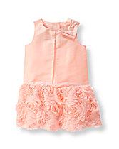 Rosette Silk Dress