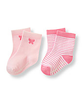 Striped Butterfly Sock Two-Pack
