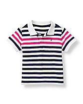 Contrast Striped Polo