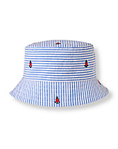 Anchor Striped Bucket Hat