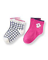 Blossom Windowpane Sock Two-Pack