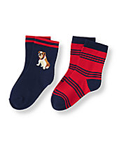 Bulldog Stripe Sock Two-Pack