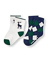 Reindeer Argyle Sock Two-Pack
