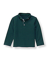 Striped Long Sleeve Pique Polo