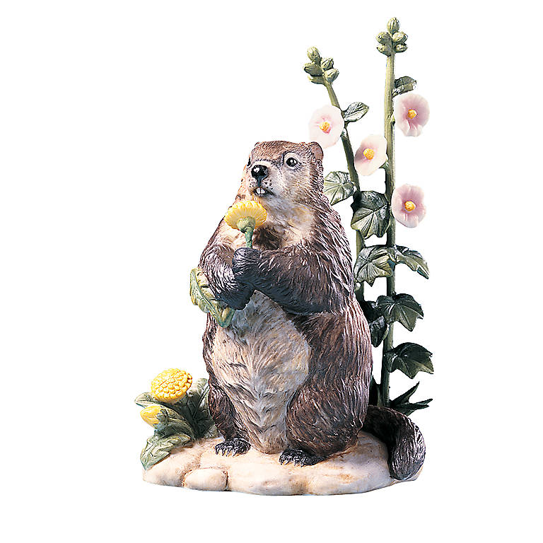 Porcelain Spring Shadow Groundhog Sculpture by Lenox, Sculpture by Lenox