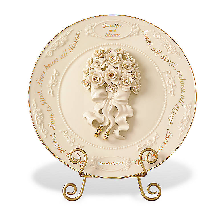 Ivory China United in Love Personalized Wedding Plate by Lenox, Home Decorating by Lenox