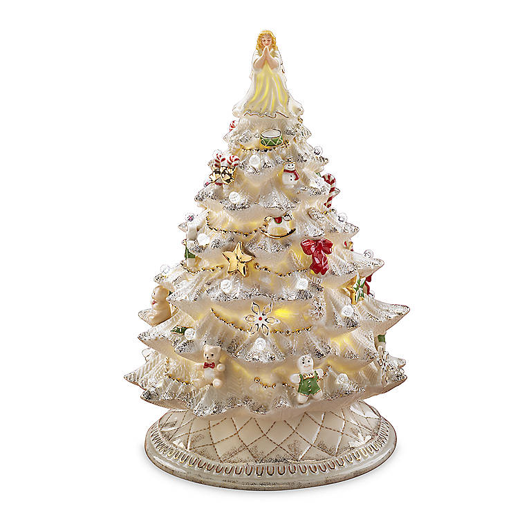 Ivory China Lenox A Bright and Merry Christmas Lighted Tree Sculpture, Sculpture by Lenox