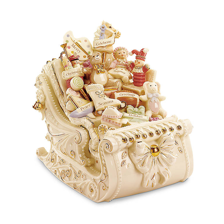 Ivory China Lenox Personalized Holiday Traditions Sleigh Sculpture, Sculpture by Lenox