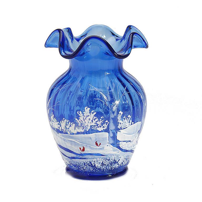 Decorated Glass Fenton Cobalt Winter Vase, Home Decorating Vases by Lenox