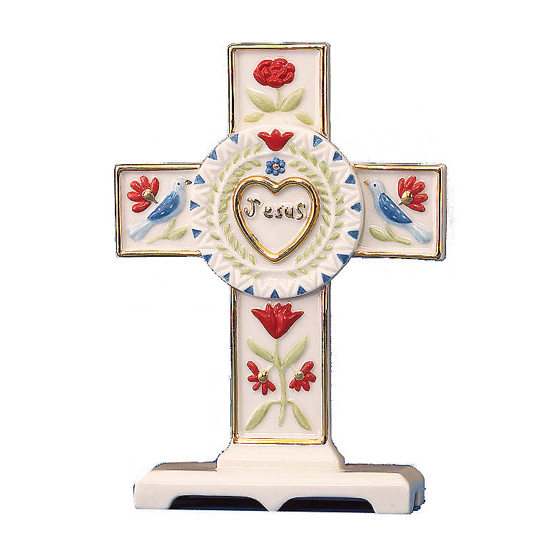 Ivory China Pennsylvania Dutch Cross Sculpture by Lenox, Sculpture by Lenox