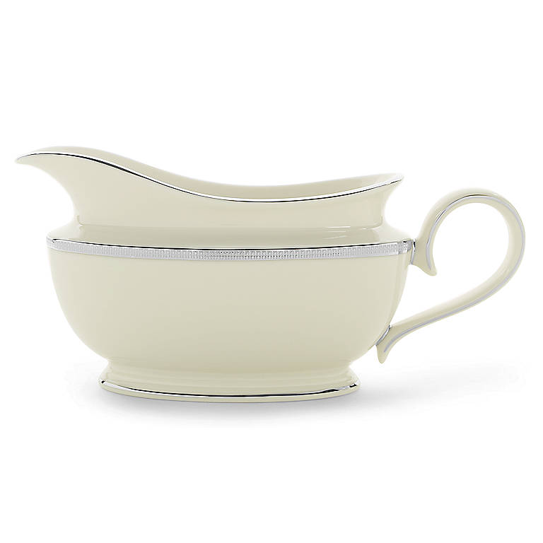 Ivory China Tuxedo Platinum Sauce Boat by Lenox, Dinnerware Serving Pieces by Lenox