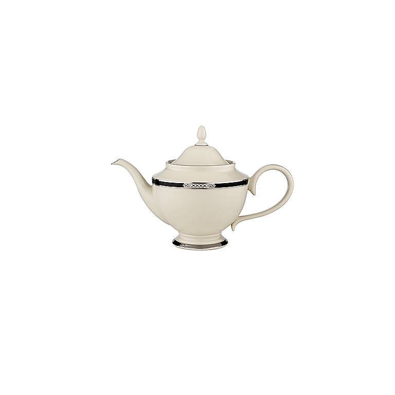 Ivory China Hancock Platinum Teapot by Lenox, Dinnerware Serving Pieces Teapots by Lenox