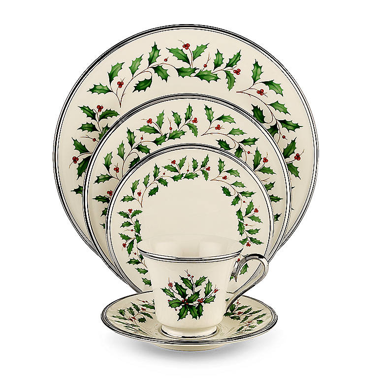 Ivory China Lenox Holiday Platinum 5-piece Place Setting, Dinnerware Tableware Dishes and China by Lenox