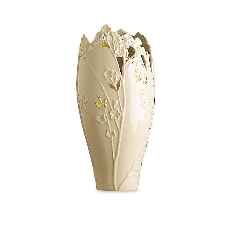 Ivory China Lenox Cherry Blossom Large Vase, Home Decorating Vases by Lenox