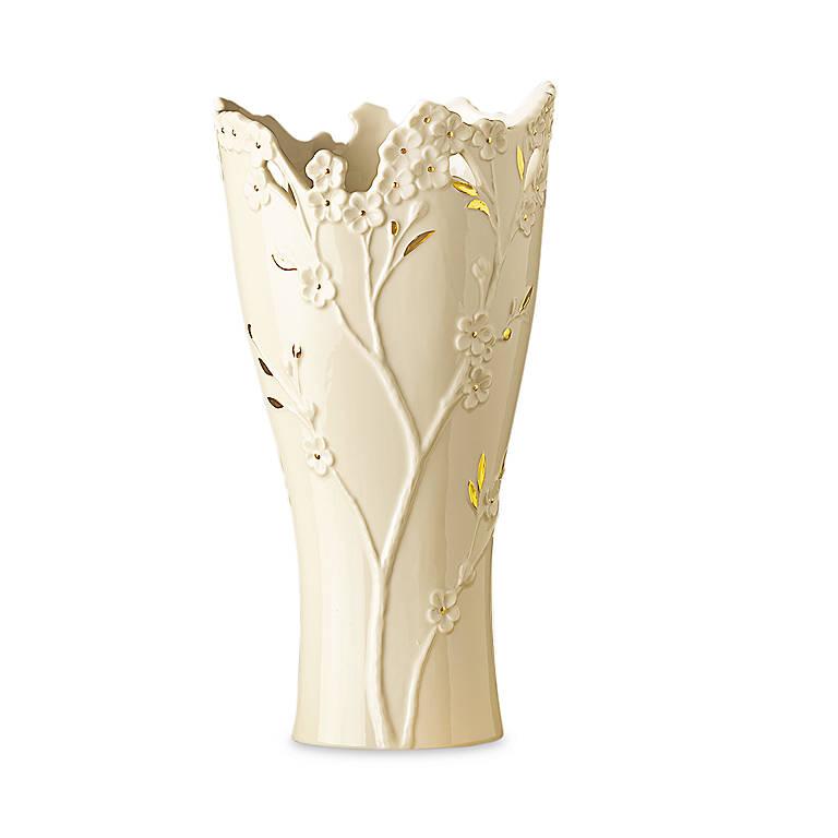 Ivory China Lenox Cherry Blossom Medium Vase, Home Decorating Vases by Lenox