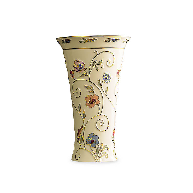 Ivory China Lenox Gilded Garden Medium Vase, Home Decorating Vases by Lenox