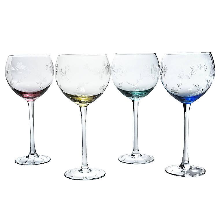 Crystal Lenox Butterfly Meadow Mixed Balloon Wine Glasses Set Of 4 Dinnerware Tableware