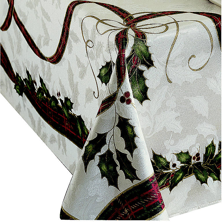"Fabric Holiday Nouveau Jacquard Damask 60 x 120"" Oblong Tablecloth by Lenox, Dinnerware Linens by Lenox"