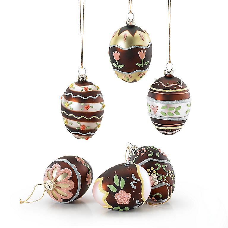Decorated Glass Chocolate Easter Egg Ornaments, Set of 6, Gifts by Occasion Easter by Lenox