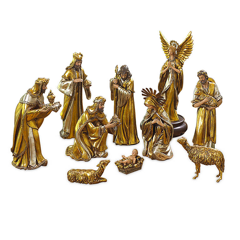 Resin Department 56 Gilded Nativity 10-piece Set, Sculpture by Lenox
