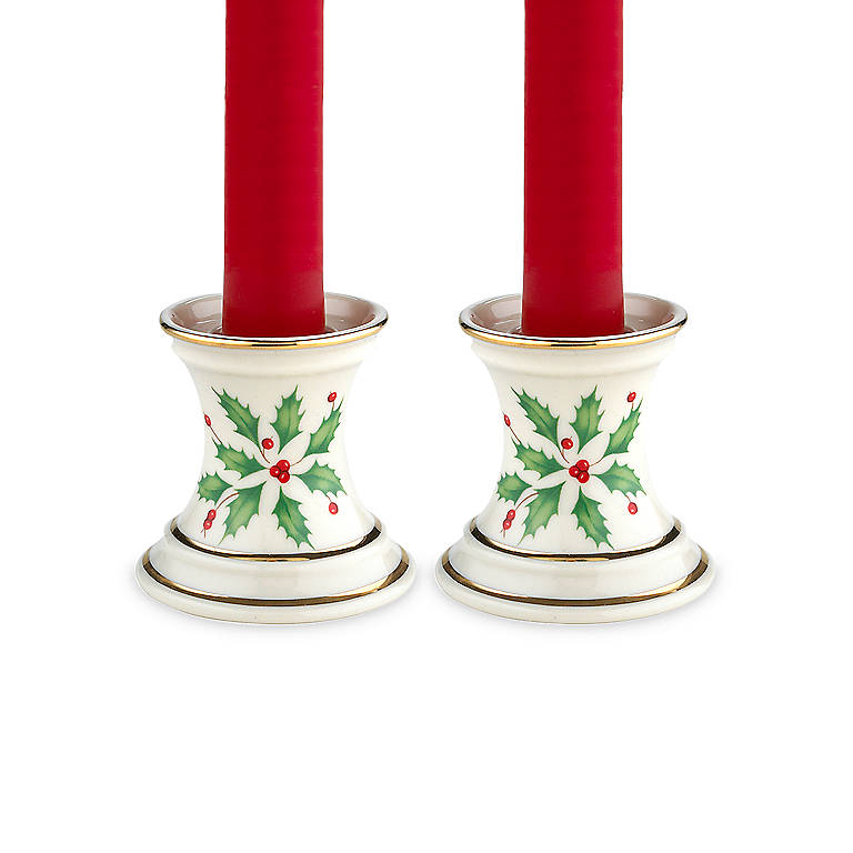 Porcelain Lenox Holiday Candlestick Pair with Tapers, Home Decorating Candles by Lenox