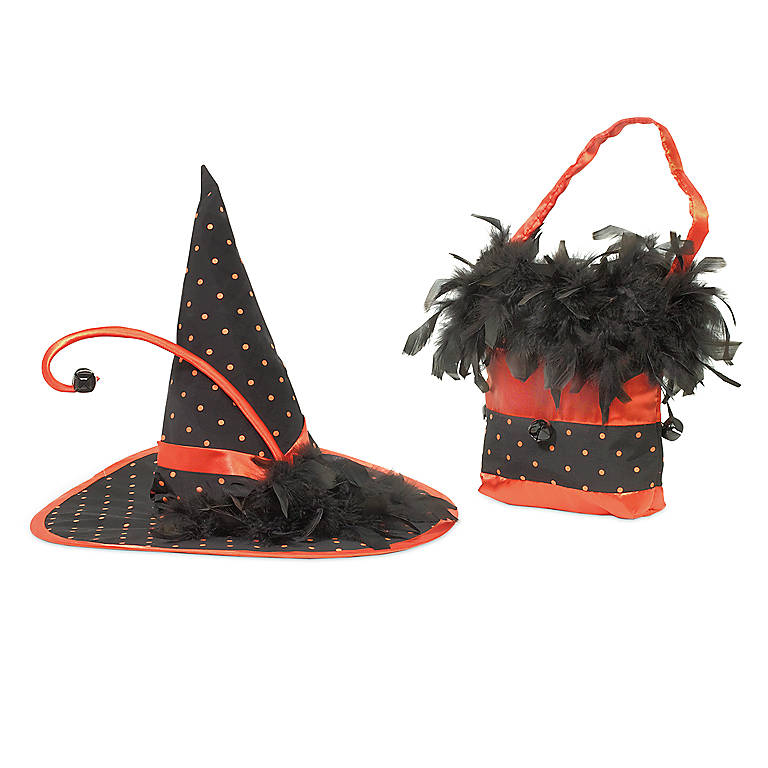 Department 56 'Polka Dot Witch Hat And Purse Set', Gifts by Occasion Halloween by Lenox