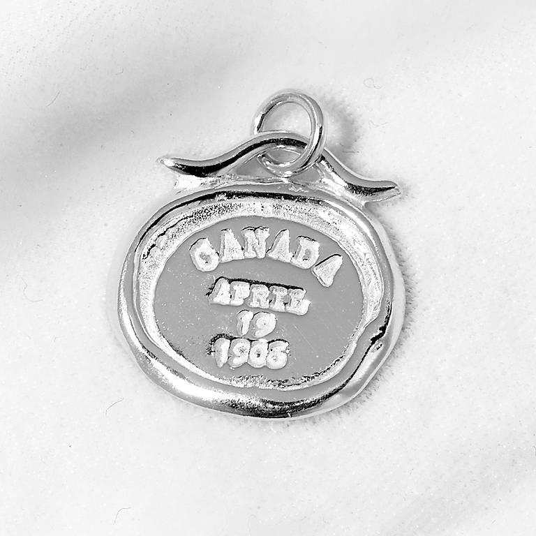 Sterling Silver Passport Bracelet Charm - Canada, Costume Jewelry by Lenox
