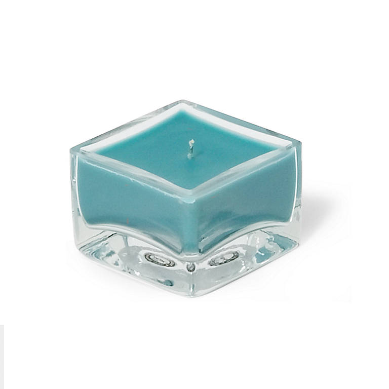 Colored Glass Tickle Square Candle, Aqua, Home Decorating by Lenox