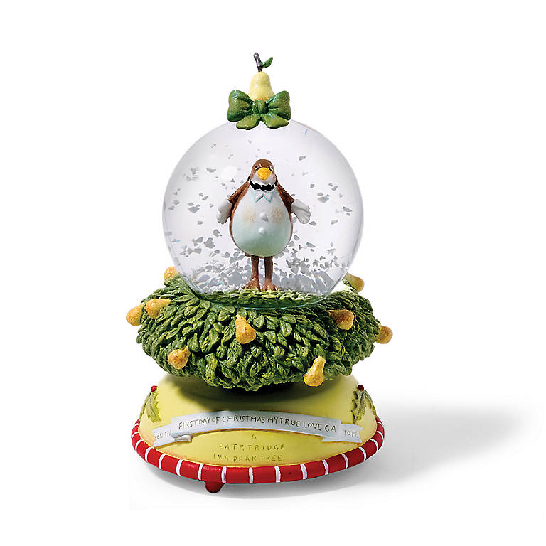 Department 56 12 Days Patridge Waterglobe Music Box, Sculpture by Lenox