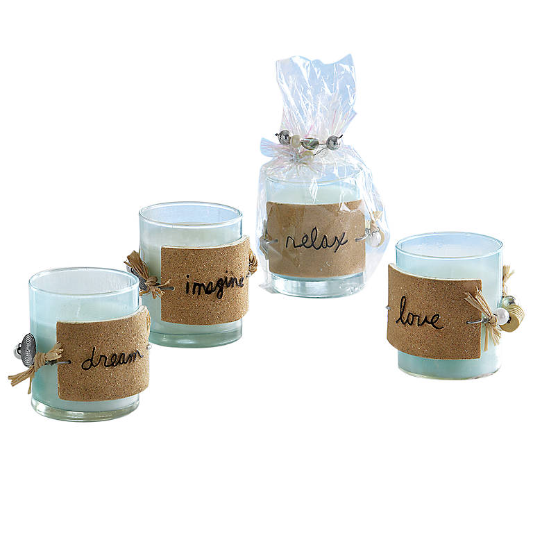 Glass Sandra Magsamen Beach Votives, Set of 4, Home Decorating Candles by Lenox