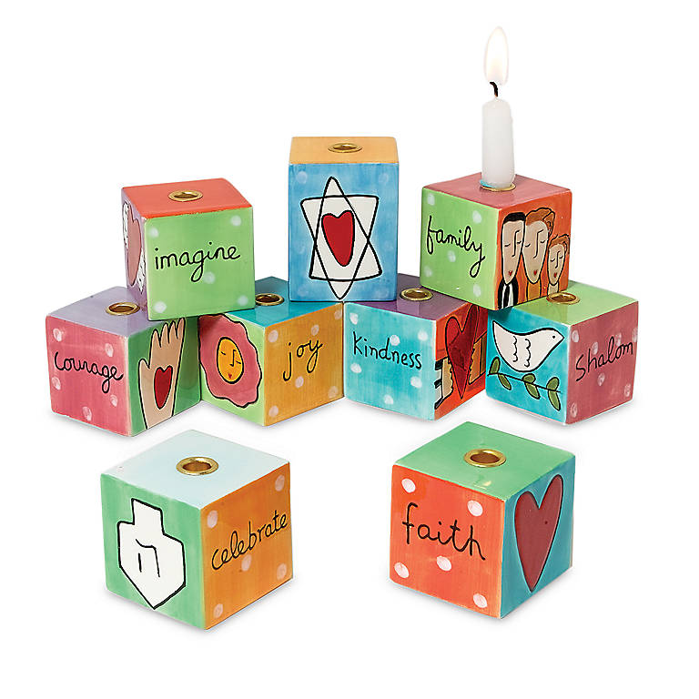 Ceramic 9-piece Block Menorah, Gifts by Occasion Hanukkah by Lenox