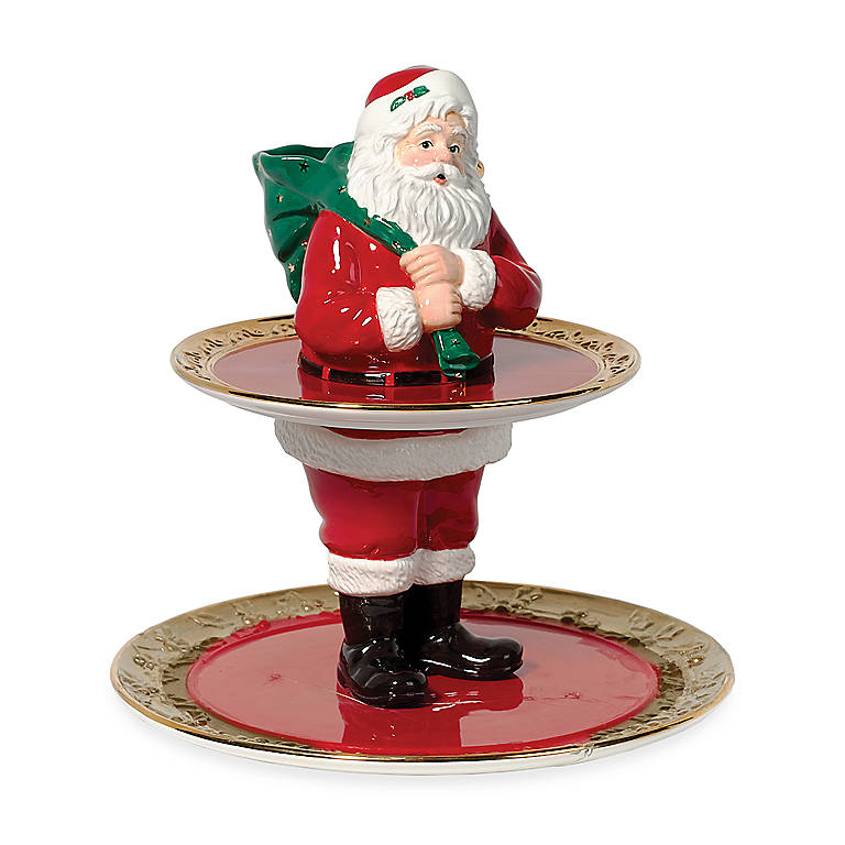 Ceramic Department 56 Santa Two-tier Server, Gifts by Occasion Christmas by Lenox