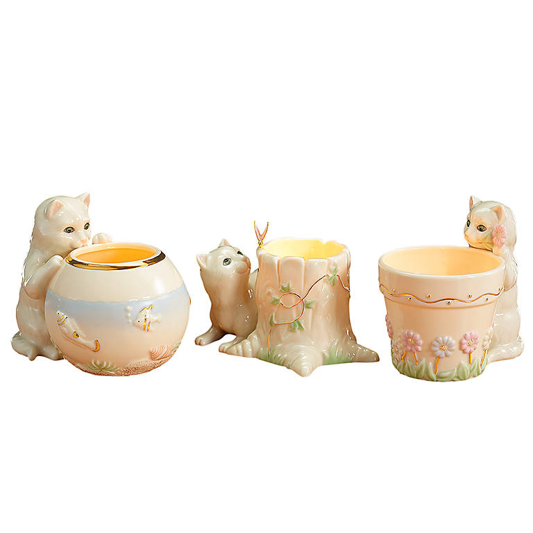Ivory China Lenox Curious Kitty Tealights, Set of 3, Home Decorating Candles by Lenox