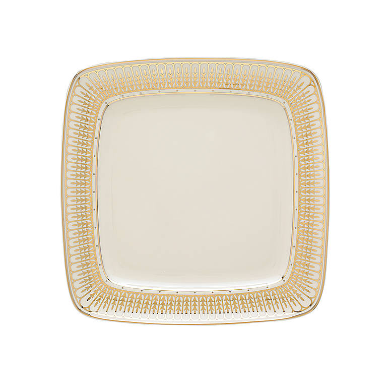 Porcelain Lenox Windsor Gold Square Platter, Dinnerware Tableware Dishes and China by Lenox