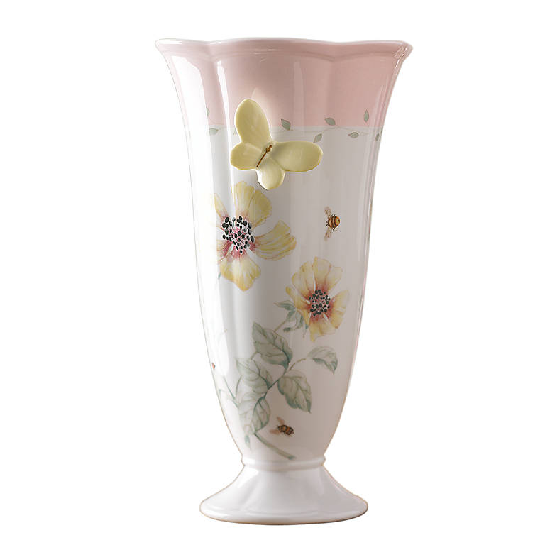 Lenox Butterfly Meadow Pink Medium Vase, Home Decorating Vases by Lenox