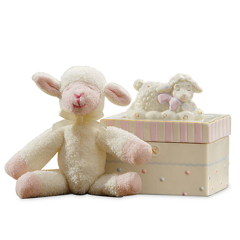 Ivory China Lenox Lazy Lambs Box with Plush, Gifts by Occasion by Lenox