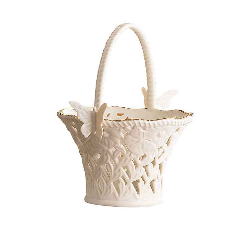 Ivory China Butterflies & Lace Basket, Home Decorating Baskets by Lenox