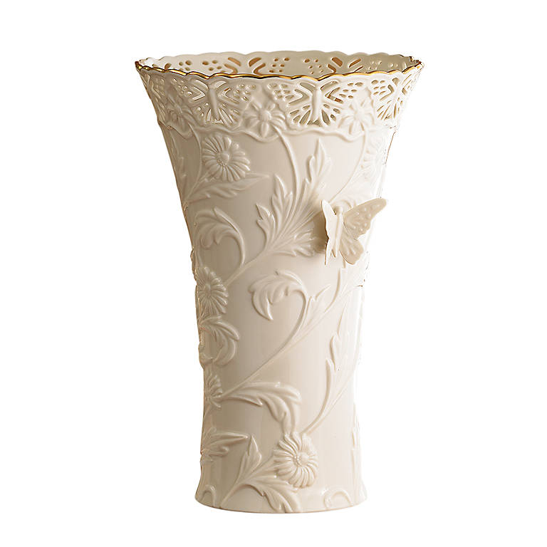 Ivory China Butterflies & Lace Large Vase, Home Decorating Vases by Lenox
