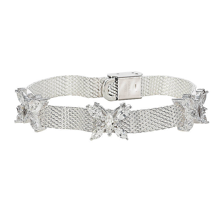 Sterling Silver The Crystal Butterfly Mesh Bracelet by Lenox, Costume Jewelry by Lenox