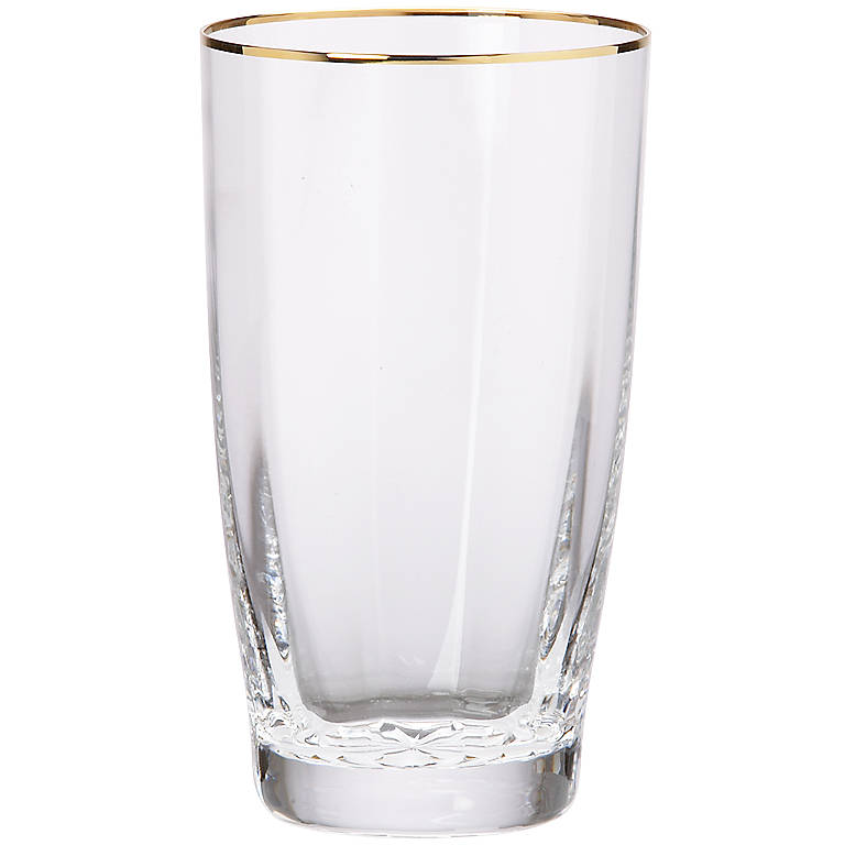 Crystal Andante Gold Highball Glass by Gorham, Dinnerware Tableware Barware by Lenox