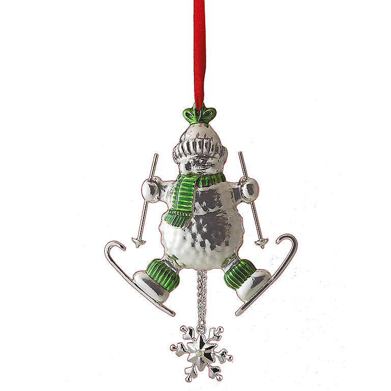 Silverplated Skiing Snowman Ornament by Lenox, Gifts by Occasion Christmas by Lenox