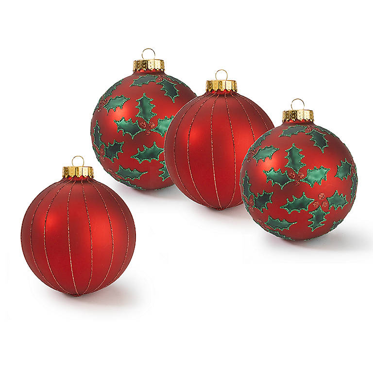 Decorated Glass Red Glass Ball Ornaments, Set of 4, Gifts by Occasion Christmas by Lenox