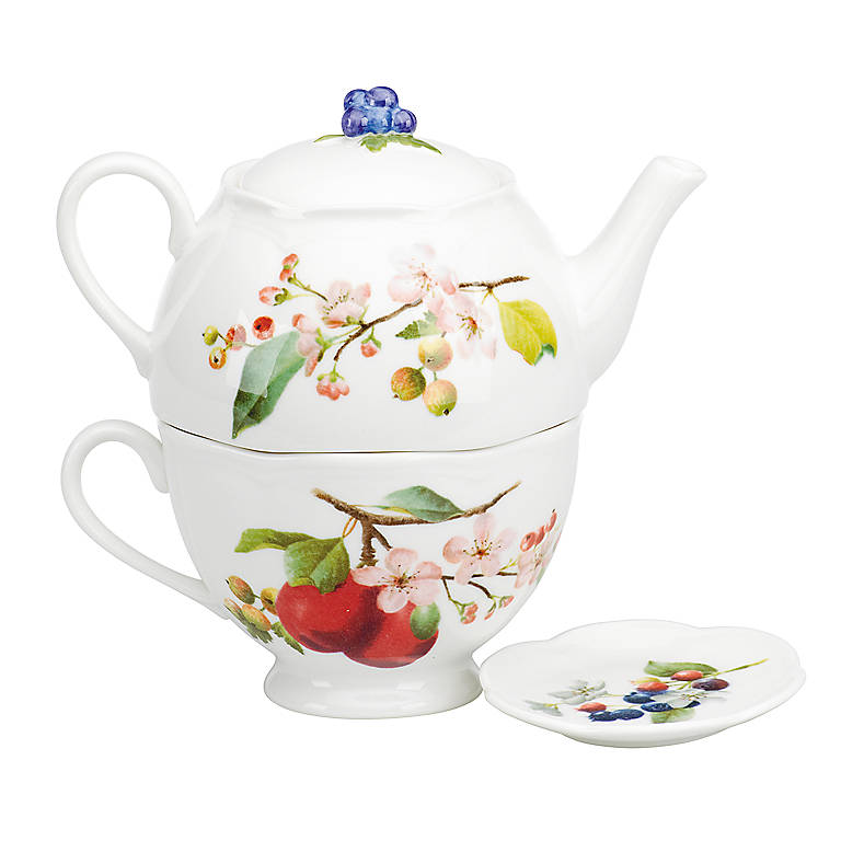 Porcelain Orchard in Bloom Stackable Tea Set by Lenox, Dinnerware Serving Pieces Teapots by Lenox