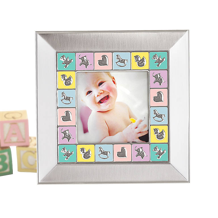 Metal Gorham Peek-A-Boo Square Baby Frame, Home Decorating Picture Frames by Lenox