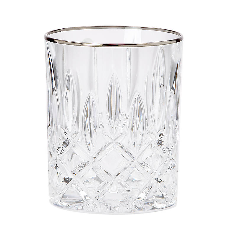 Crystal Gorham Lady Anne Signature Platinum Double Old Fashioned Glass, Dinnerware Tableware Barware by Lenox