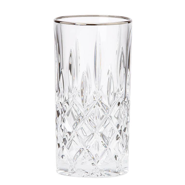 Crystal Gorham Lady Anne Signature Platinum Highball Glass, Dinnerware Tableware Barware by Lenox