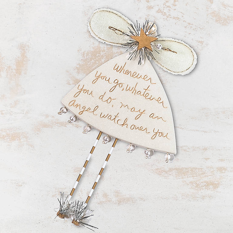 Ceramic Department 56 Sandra Magsamen Messages from the Heart Wherever You Go Angel Ornament, Large, Miniatures and Figurines Angels by Lenox