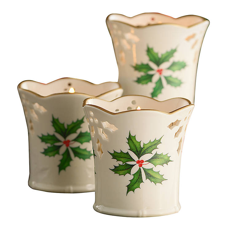Porcelain Lenox Holiday Pierced Votives, Set of 3, Home Decorating Candles by Lenox