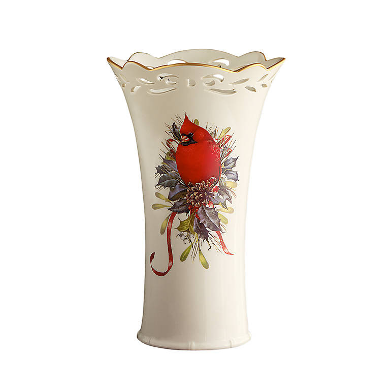 Porcelain Lenox Winter Greetings Pierced Medium Vase, Home Decorating Vases by Lenox